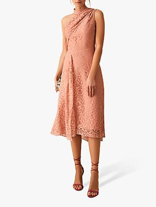 Reiss Stephie Asymmetric Hem Lace Dress, Blush