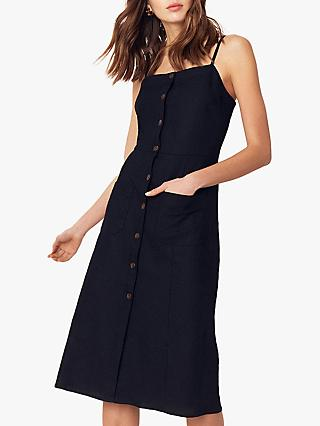 Oasis Button Front Dress, Black