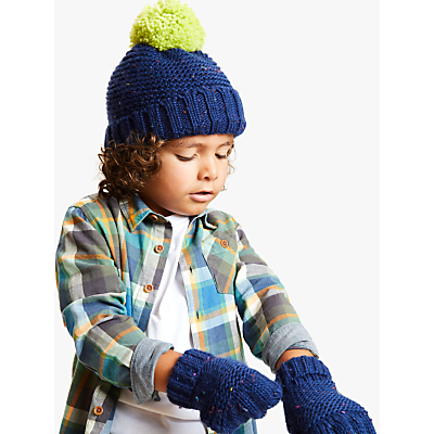 Image of John Lewis & Partners Children's Nep Beanie And Gloves Set, Navy