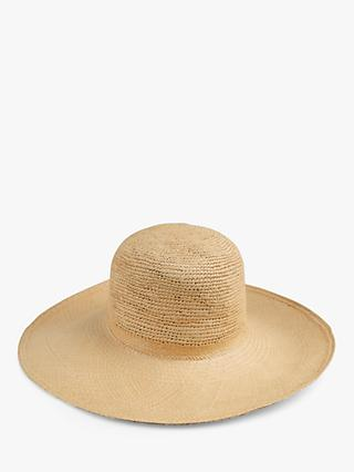 cf0ae02b hush Round Crown Panama Straw Hat, Natural