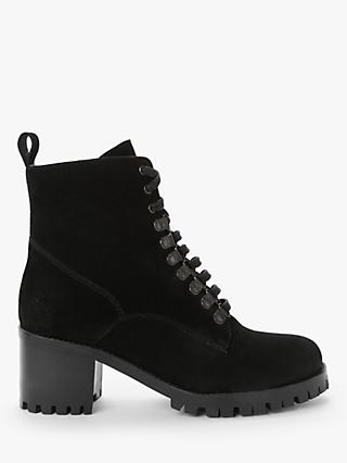 AND/OR Rubee Lace-Up Heeled Ankle Boots, Black