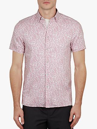 6abfc6c53871 Ted Baker Leemars Floral Linen Cotton Short Sleeve Shirt