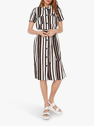 Warehouse Striped Belted Shirt Dress, Multi