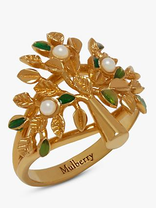 Mulberry Tree Enamel Ring, Gold/Green