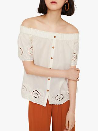 Warehouse Broderie Cotton Bardot Top