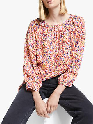Collection WEEKEND by John Lewis Austin Painterly Floral Smock Detail Top, Multi