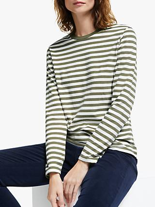 Collection WEEKEND by John Lewis Long Sleeve Stripe Breton Top, Khaki/Ivory