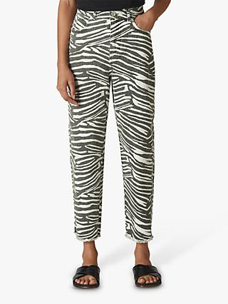 Whistles High Waist Barrel Leg Zebra Print Jeans, Black/Multi
