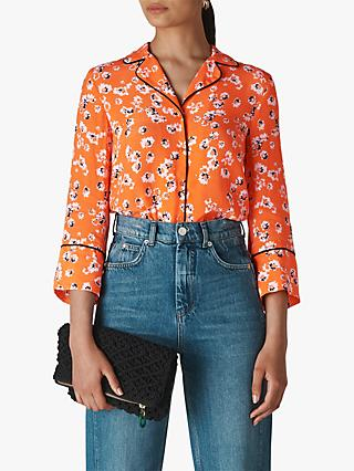 Whistles Digital Daisy Pyjama Shirt, Flame/Multi