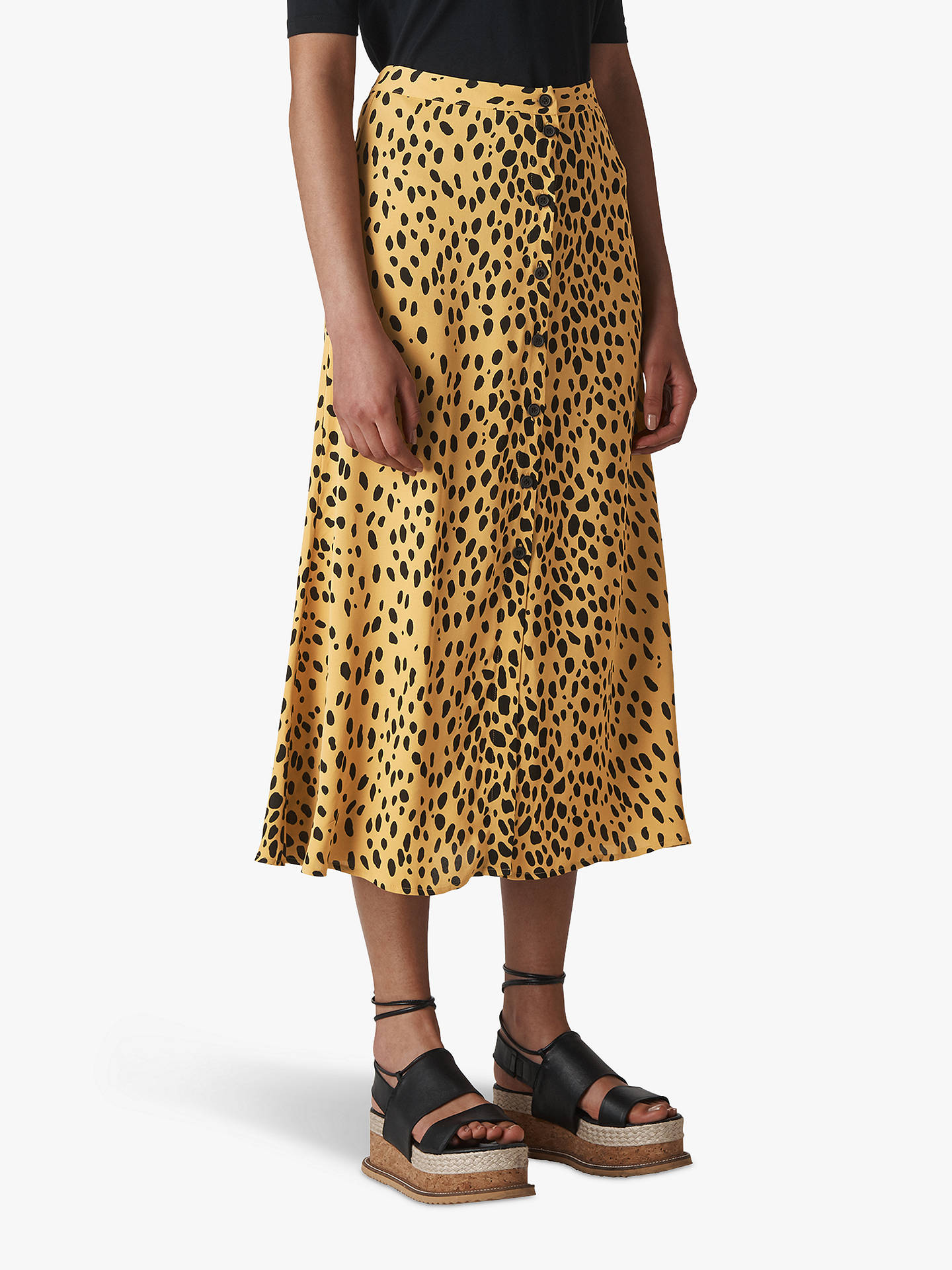 0e05e5ab7445 Buy Whistles Animal Print Midi Skirt, Cream/Multi, 6 Online at johnlewis.