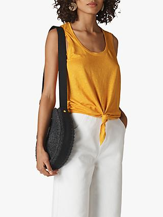 Whistles Tie Front Linen Tank Top, Yellow
