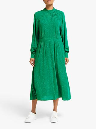 Collection WEEKEND by John Lewis High Neck Heart Print Midi Dress, Green