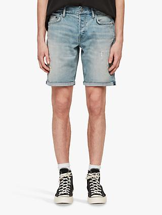 AllSaints Switch Damaged Shorts, Light Indigo Blue