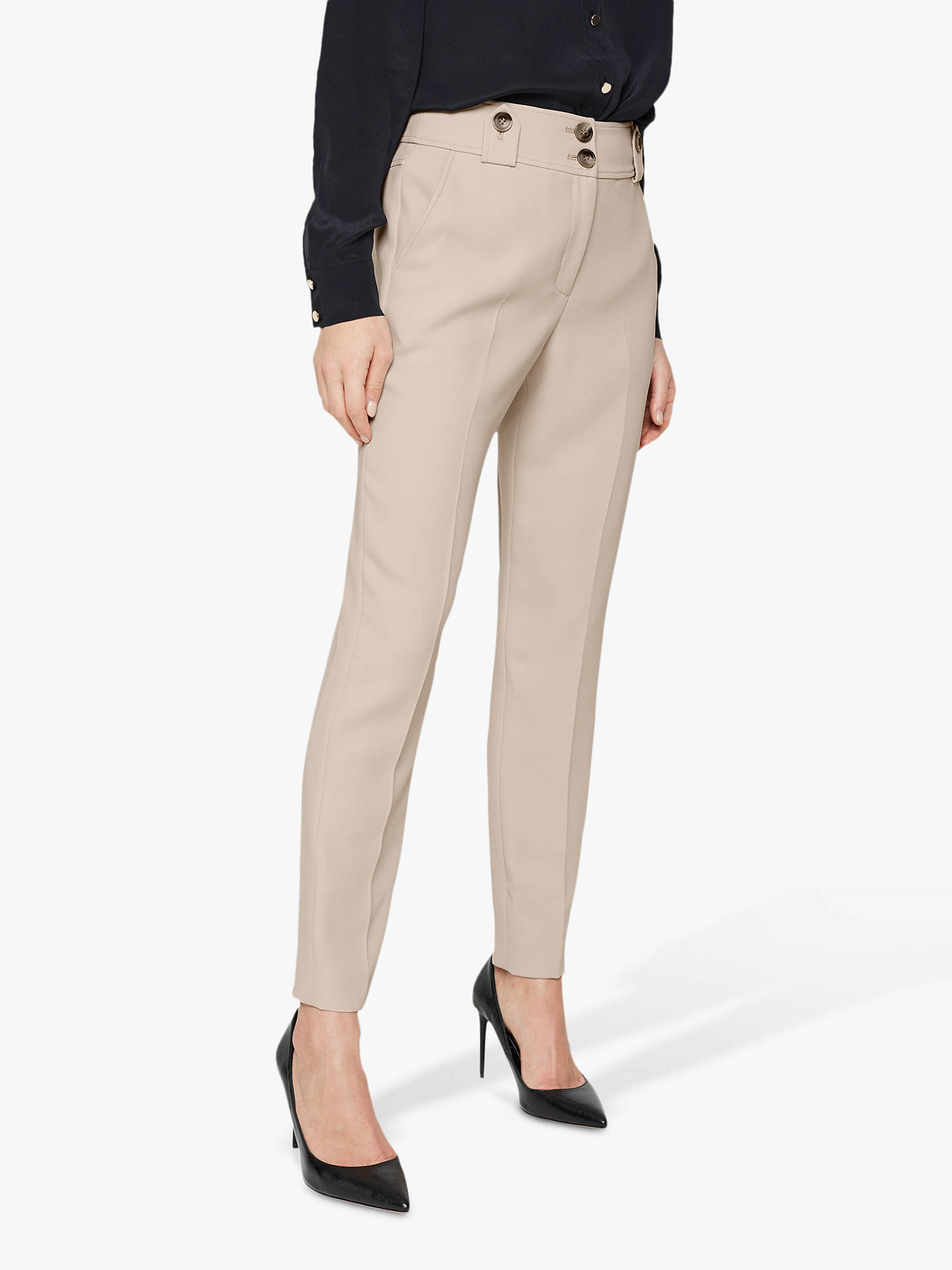 Buy Damsel in a Dress Ebony Tapered Tailored Suit Trousers, Neutral, 10 Online at johnlewis.com