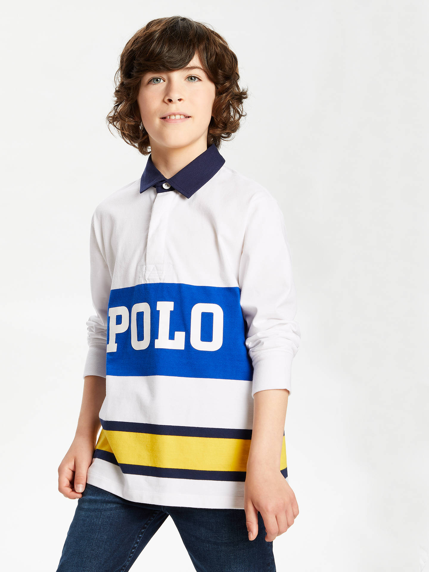 Polo Ralph Lauren Boys Long Sleeve Rugby Top White At John Lewis Partners