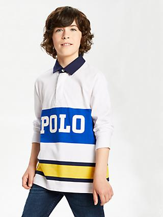 Polo Ralph Lauren Boys' Long Sleeve Rugby Top, White