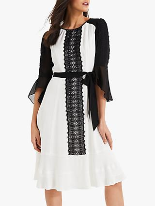 Damsel in a Dress Cia Lace Dress, White/Black