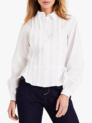 Damsel in a Dress Nala Ruffle Applique Cotton Shirt, White