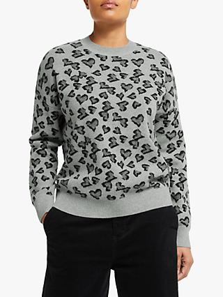 Collection WEEKEND by John Lewis Heart Jacquard Crew Neck Jumper, Grey