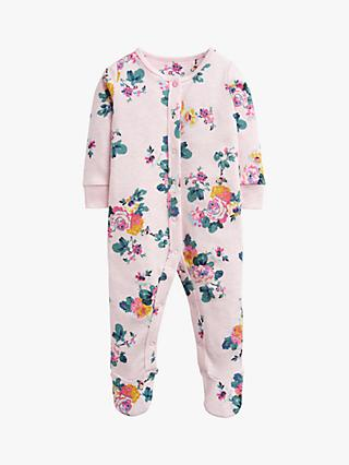 Baby Joule Raza Floral Print Babygrow, Pink