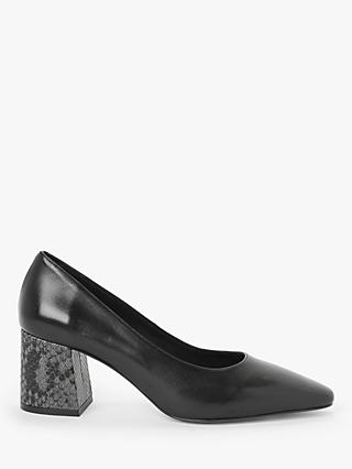 John Lewis & Partners Amo Leather Contrast Heel Court Shoes