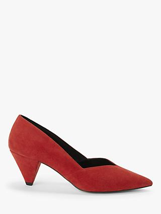 AND/OR Ready Cone Heel Suede Court Shoes, Red