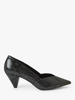 AND/OR Ready Cone Heel Leather Court Shoes, Navy