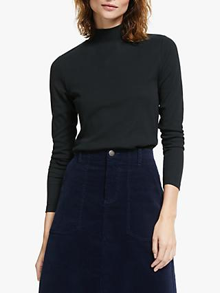 Collection WEEKEND by John Lewis Funnel Neck Ribbed Top, Black