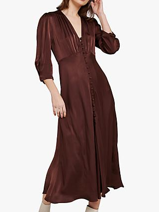 Ghost Madison Satin Dress, Chocolate