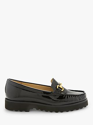 John Lewis & Partners Orla Leather Slip On Platform Moccasins, Black