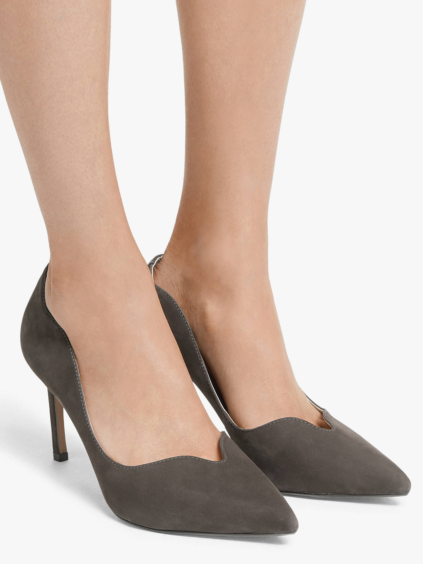Buy John Lewis & Partners Abbie Scalloped Stiletto Heel Court Shoes, Grey, 4 Online at johnlewis.com