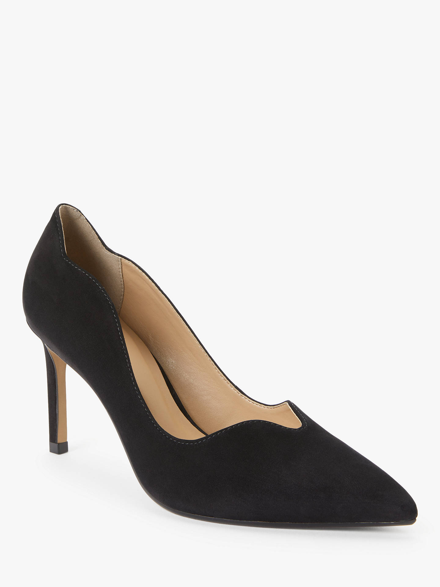 Buy John Lewis & Partners Abbie Scalloped Stiletto Heel Court Shoes, Black, 4 Online at johnlewis.com