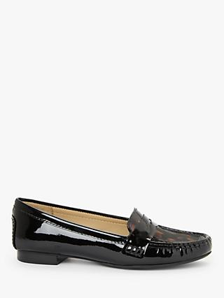 John Lewis & Partners Gwyn Patent Leather Moccasins, Black