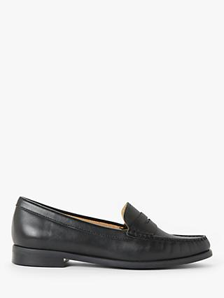John Lewis & Partners Penny Leather Moccasins, Black