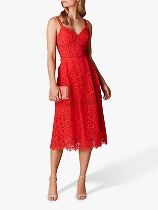 2ca2482206f7 Karen Millen Leopard Pattern Lace Sleeveless Flared Dress