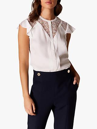 f431b148628daf Karen Millen Lace Detail Ruffle Sleeve Blouse