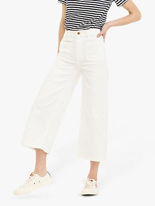09554ee59b J.Crew Patch Pocket Wide Leg Cropped Trousers, Chalk Wash