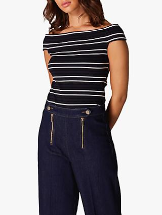 bed026dcb3799e Karen Millen Striped Bardot Neck Top