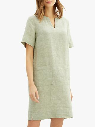 Jaeger Cross Dye Linen Patch Pocket Dress, Khaki