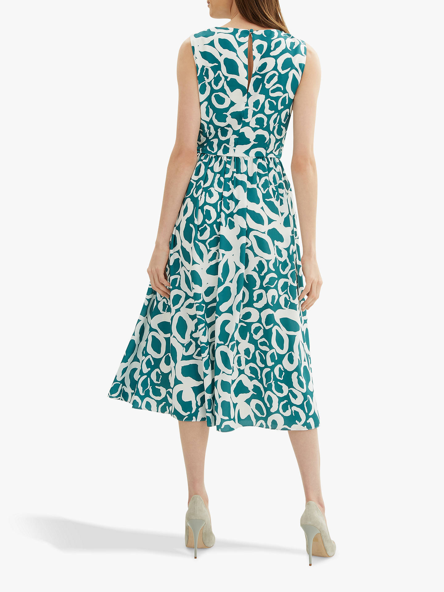 a7cb6209972b ... Buy Jaeger Fit and Flare Animal Print Dress, Teal/White, 6 Online at ...