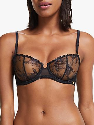 AND/OR Quinn Metallic Balcony Bra, Black