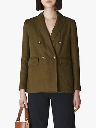 Whistles Linen Double Breasted Blazer Jacket, Olive