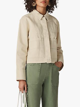 Whistles Contrast Stitch Denim Jacket, Ivory