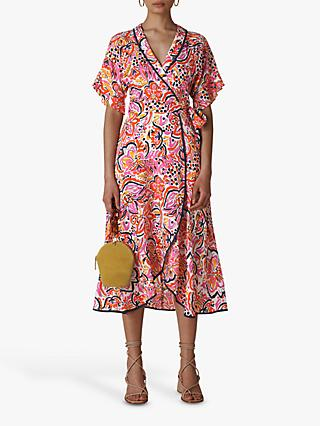 Whistles Art Floral Wrap Dress, Multi