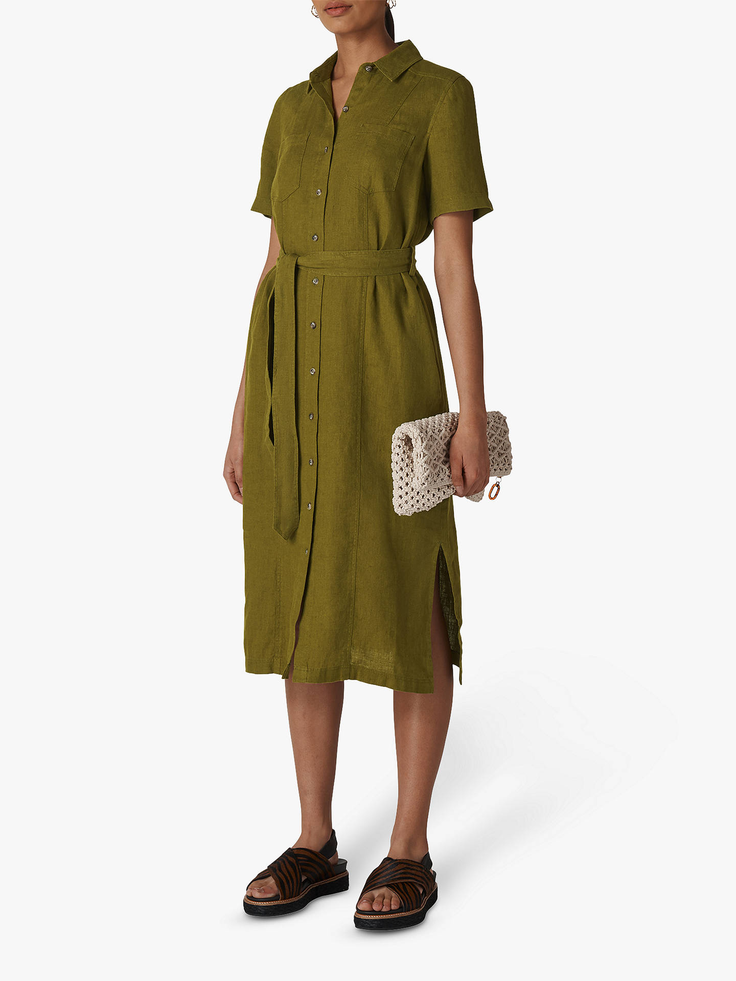 78cdbea8 Buy Whistles Bella Linen Shirt Dress, Khaki, 6 Online at johnlewis.com ...