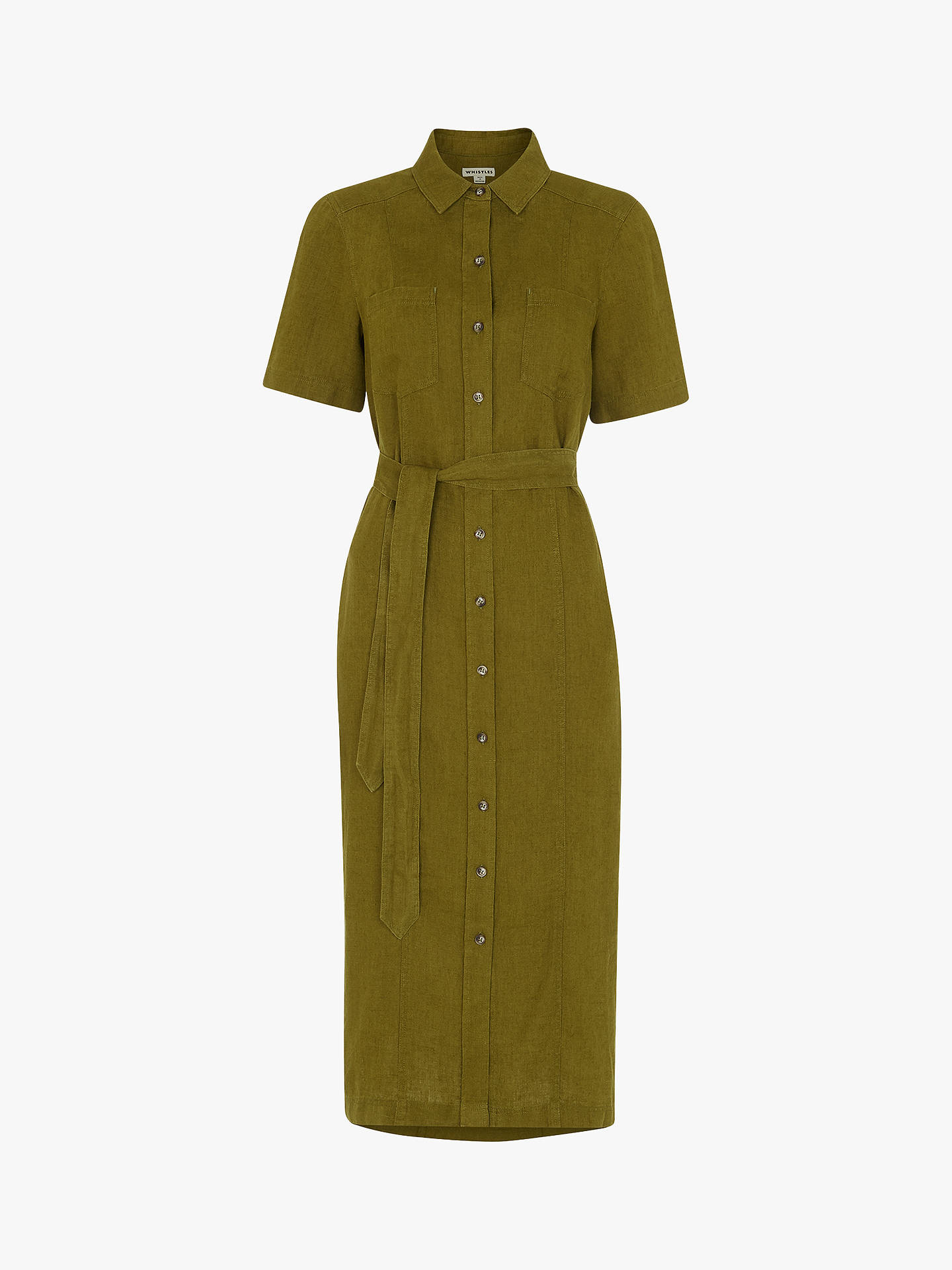 Buy Whistles Bella Linen Shirt Dress, Khaki, 6 Online at johnlewis.com