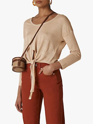 Whistles Tie Front Light Knit Top, Neutral