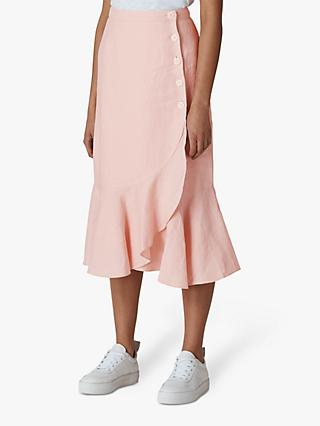 Whistles Linen Button Frill Skirt, Pale Pink