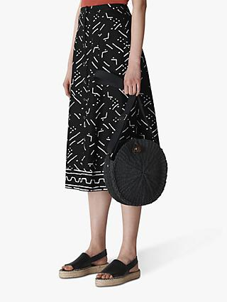 Whistles Kuba Print Linen Skirt, Black Multi