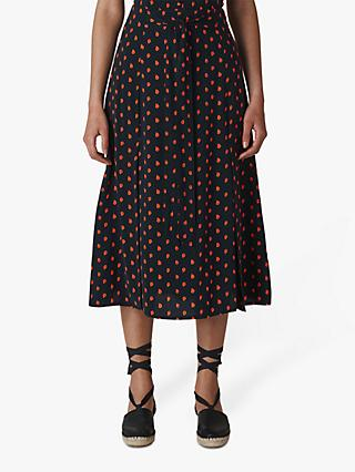 Whistles Scattered Leaf Tie Front Skirt, Navy